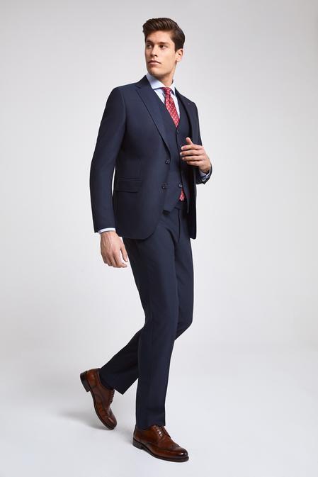 Ds Damat Slim Fit Lacivert Armürlü Yelekli Takım Elbise - 8682445106503 | D'S Damat