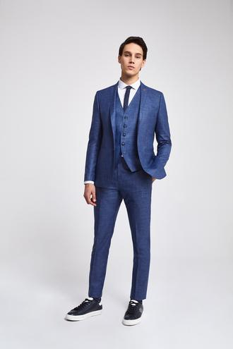 Twn Slim Fit Lacivert Düz Yelekli Takım Elbise - 8682060142115 | D'S Damat
