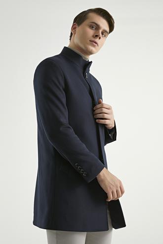 Twn Slim Fit Lacivert Palto - 8682060520388 | D'S Damat