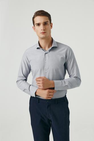 Ds Damat Slim Fit Siyah Armürlü Gömlek - 8682445026856   D'S Damat