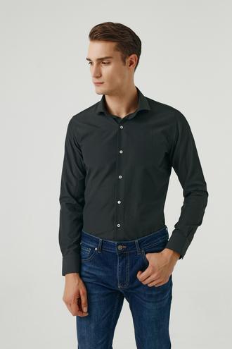 Ds Damat Slim Fit Siyah Armürlü Gömlek - 8682445027440   D'S Damat