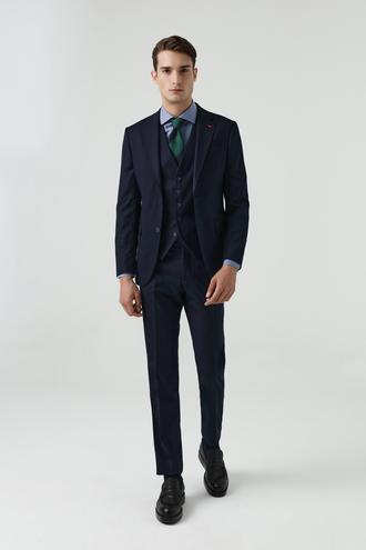 Ds Damat Slim Fit Lacivert Yelekli Takım Elbise - 8682060660916 | D'S Damat