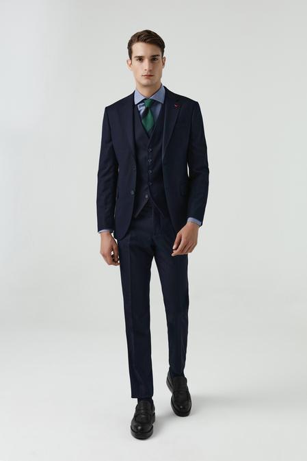Ds Damat Slim Fit Lacivert Yelekli Takım Elbise - 8682060660893 | D'S Damat