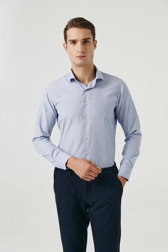 Ds Damat Slim Fit Lacivert Armürlü Gömlek - 8682445026993 | D'S Damat