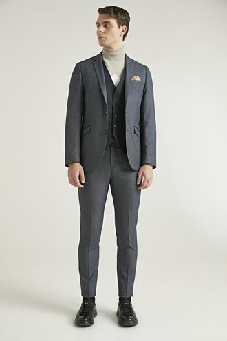 Twn Slim Fit Lacivert Armürlü Kombinli Takım Elbise - 8682060736130 | D'S Damat