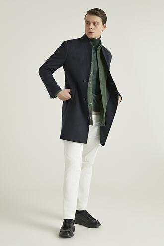 Twn Slim Fit Lacivert Palto - 8682060521606 | D'S Damat