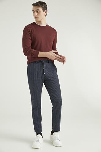 Twn Slim Fit Lacivert Çizgili Jogger Kumaş Pantolon - 8682060805676 | D'S Damat