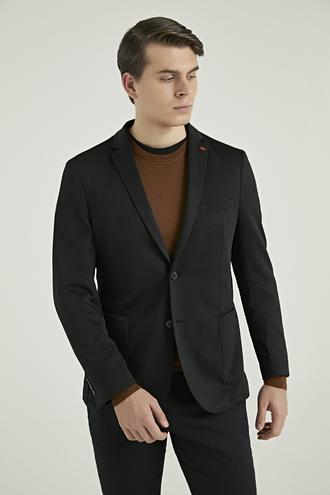 Twn Slim Fit Siyah Armürlü Kumaş Ceket - 8682060754042 | D'S Damat