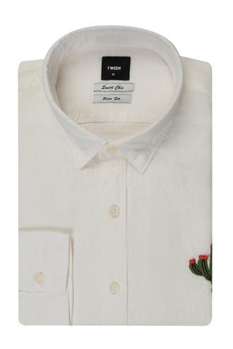 Tween Slim Fit Beyaz Desenli Gomlek - 8681649086826 | Damat Tween