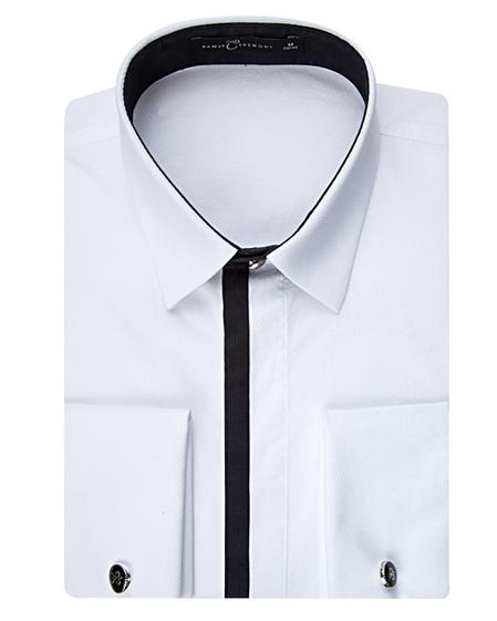Damat Slim Fit Beyaz Jakar Desenli Smokin Gömlek - 8681649604860 | Damat Tween