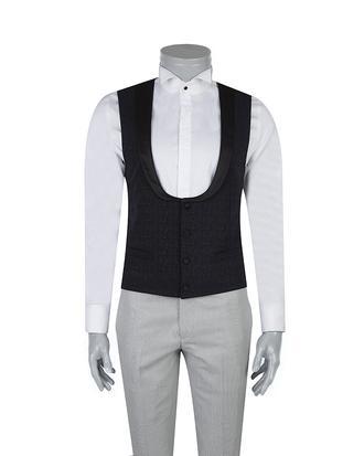 Tween Slim Fit Lacivert Desenli Yelek - 8681649316299 | Damat Tween