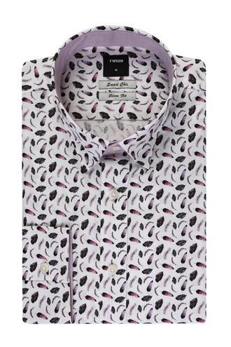 Tween Slim Fit Mor Desenli Baskılı Gömlek - 8681649440741   D'S Damat