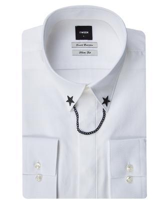 Tween Slim Fit Beyaz Desenli Yaka İğneli Gömlek - 8681649515227 | D'S Damat
