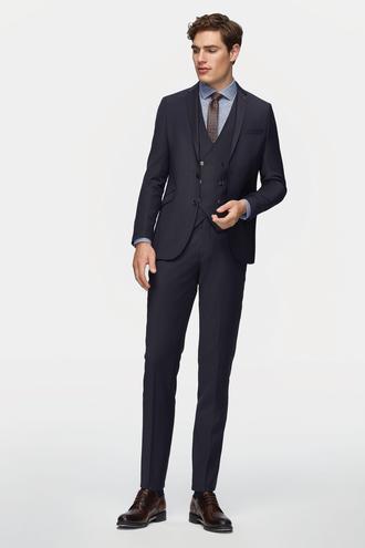 Tween Slim Fit Slim Fit Lacivert Desenli Yeleklı Takım Elbıse - 8681649531463 | D'S Damat