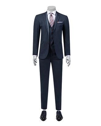 Tween Slim Fit Slim Fit Lacivert Desenli Yeleklı Takım Elbıse - 8681649698234 | D'S Damat