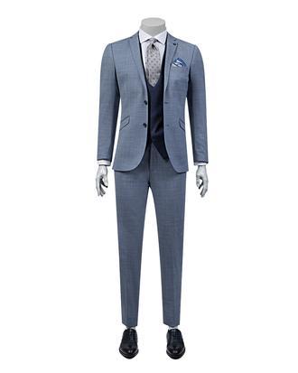 Tween Slim Fit Slim Fit Lacivert Desenli Yeleklı Takım Elbıse - 8681649699385 | D'S Damat