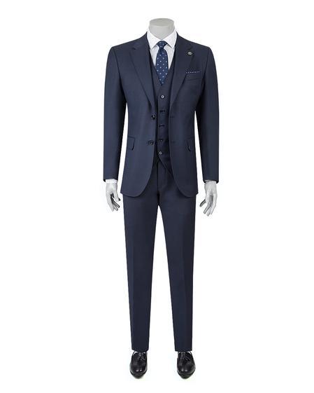 Damat Regular Fit Lacivert Desenli Yelekli Takım Elbise - 8681649022138   Damat Tween