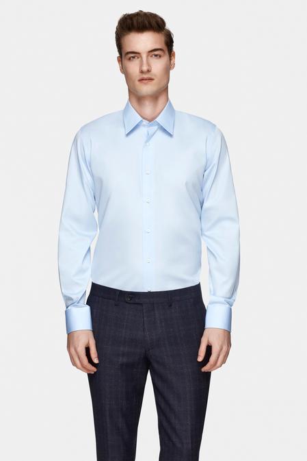 Damat Slim Fit Mavi Düz Nano Care Gömlek - 8681649811749   Damat Tween