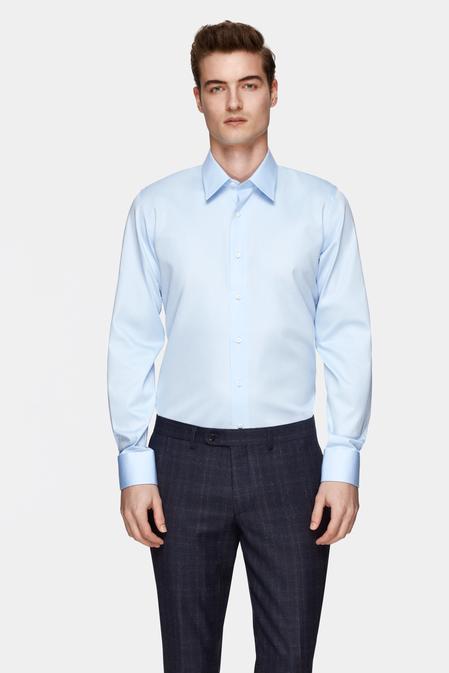 Damat Slim Fit Mavi Düz Nano Care Gömlek - 8681649975847 | Damat Tween