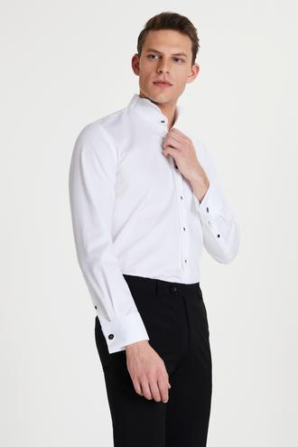 Damat Slim Fit Beyaz Düz Smokin Gömlek - 8681649814726 | Damat Tween