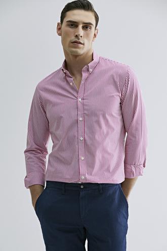 Tween Slim Fit Kırmızı Çizgili Gömlek - 8681649868941 | Damat Tween