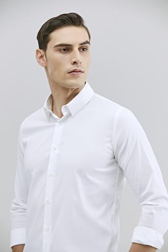 Tween Slim Fit Beyaz Düz Gömlek - 8682364658954 | Damat Tween