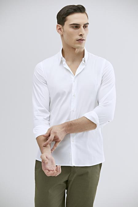 Tween Slim Fit Beyaz Düz Gömlek - 8682364510351 | Damat Tween
