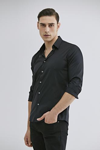Tween Slim Fit Siyah Düz Gömlek - 8682364510238 | Damat Tween