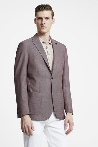 Tween Slim Fit Kırmızı Desenli Kumaş Ceket - 8682364501120 | Damat Tween
