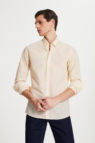 Tween Slim Fit Sarı Çizgili Loafer Gömlek - 8681649876816 | Damat Tween