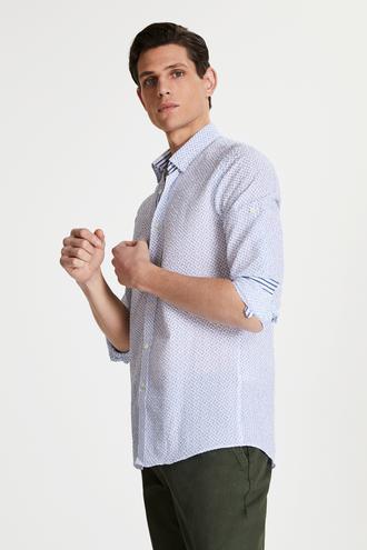 Tween Slim Fit Lacivert Desenli Loafer Gömlek - 8681649877042 | Damat Tween