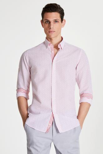Tween Slim Fit Kırmızı Desenli Loafer Gömlek - 8681649877134 | Damat Tween