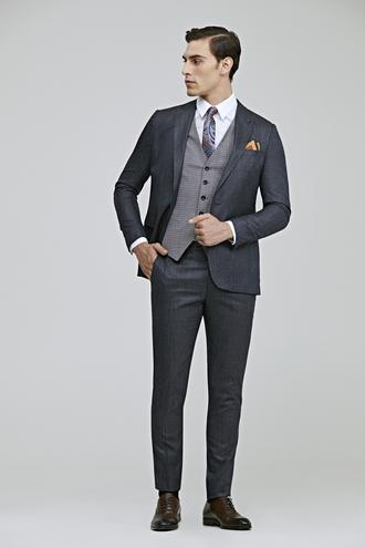 Tween Slim Fit Kahve Desenli Yelekli Takım Elbise - 8681649887430 | Damat Tween
