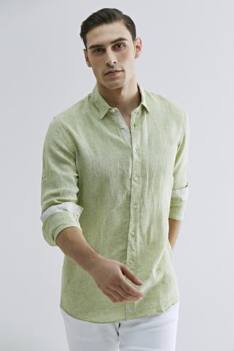 Tween Slim Fit Yeşil Düz Gömlek - 8681649889564 | Damat Tween
