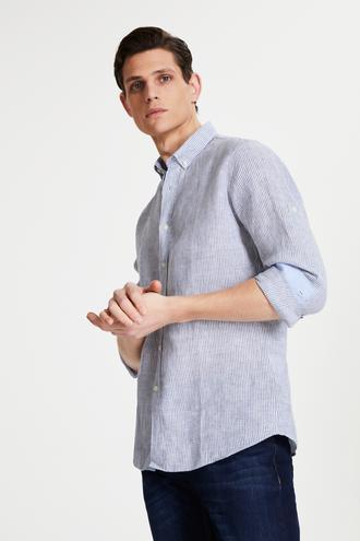 Tween Slim Fit Mavi Çizgili Gömlek - 8681649889854 | Damat Tween