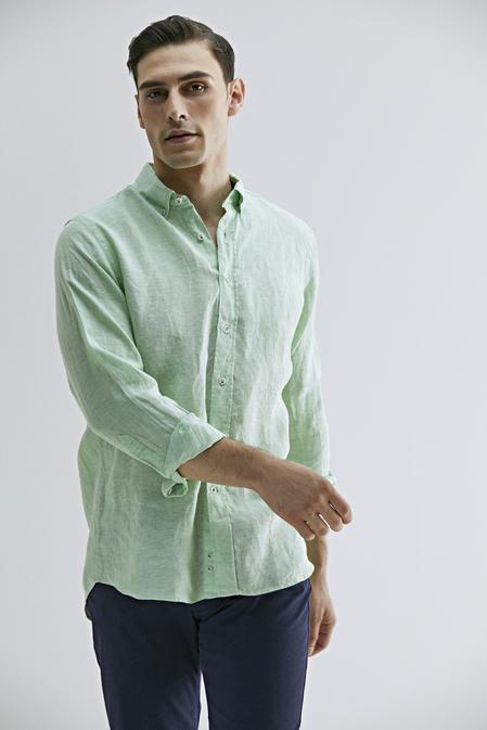 Damat Comfort Yeşil Düz Gömlek - 8681649905301 | Damat Tween