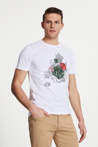 Damat Beyaz Çizgili Baskılı T-shirt - 8681649909767 | Damat Tween