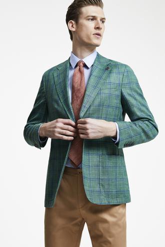 Damat Regular Fit Yeşil Ekoseli Kumaş Ceket - 8681649921677 | Damat Tween