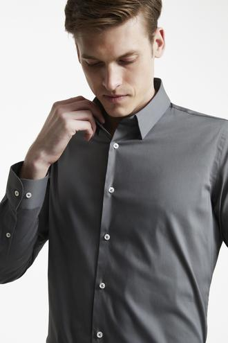 Tween Slim Fit Gri Düz Gömlek - 8682364658442 | Damat Tween