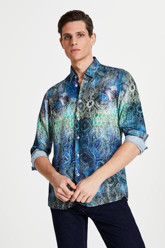 Tween Slim Fit Lacivert Baskılı Viskon Gömlek - 8681649952596 | Damat Tween