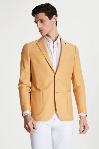 Tween Slim Fit Sarı Desenli Kumaş Ceket - 8682364771134 | Damat Tween