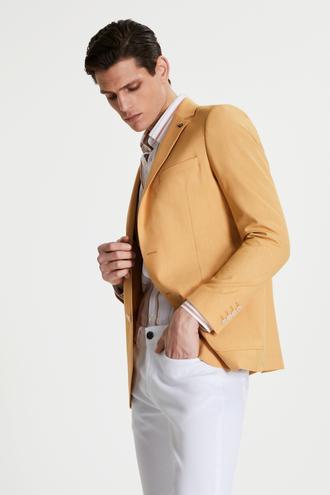 Tween Slim Fit Sarı Desenli Kumaş Ceket - 8681649953227 | Damat Tween