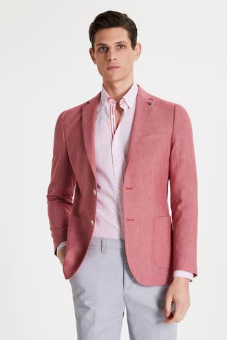 Tween Slim Fit Kırmızı Desenli Kumaş Ceket - 8681649953296 | Damat Tween