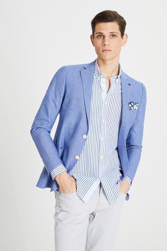 Tween Slim Fit Saks Mavi Desenli Kumaş Ceket - 8681649953364 | Damat Tween