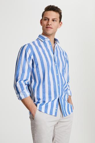 Damat Comfort Beyaz Çizgili Gömlek - 8681649957065 | Damat Tween