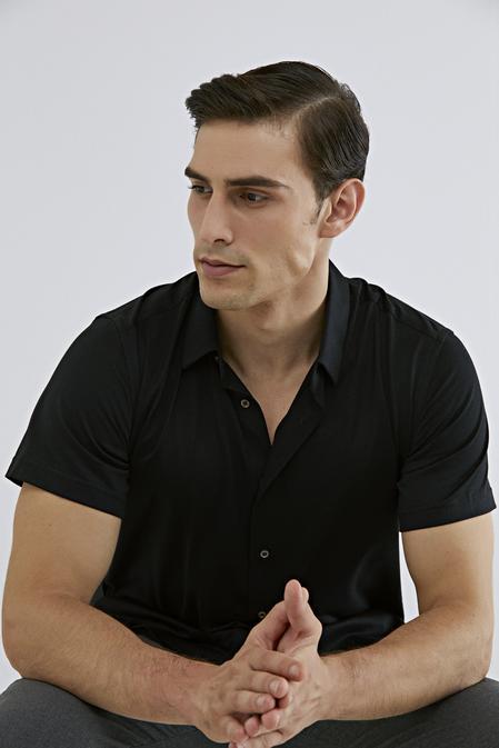 Damat Slim Fit Siyah Pötikare Örme Gömlek - 8681649967545 | Damat Tween