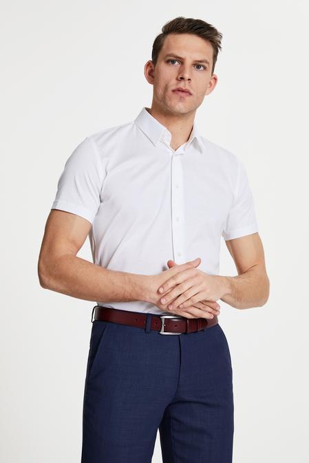 Damat Slim Fit Beyaz Pötikare Örme Gömlek - 8681649967606 | Damat Tween