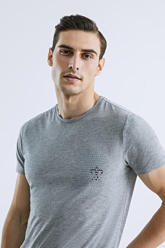 Damat Gri Çizgili Baskılı T-shirt - 8681649969266 | Damat Tween