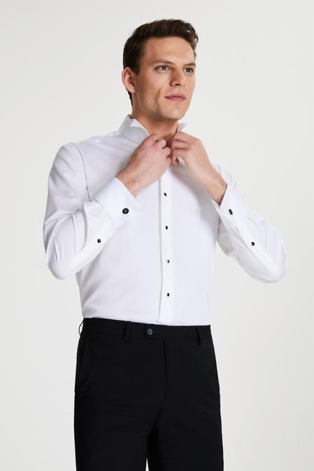 Damat Comfort Beyaz Düz Nano Care Smokin Gömlek - 8681649978305 | Damat Tween