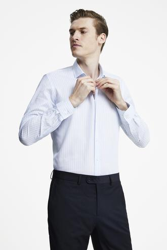 Tween Slim Fit Mavi Çizgili Gömlek - 8681649988694   Damat Tween